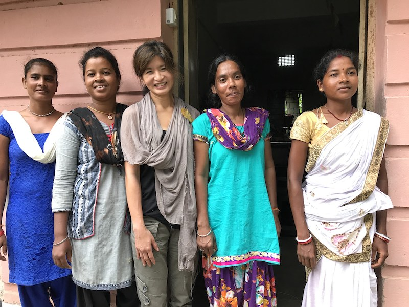 Ethical Kind founder with organi peace silk workers in India